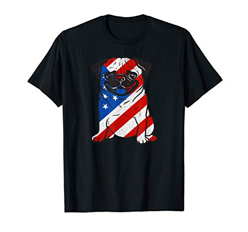 Pug American Flag Fourth Of July Patriotic T-Shirt