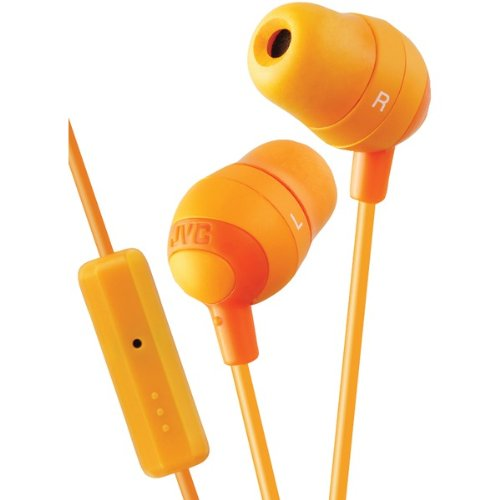 JVC HAFR37D Marshmallow Inner-Ear Earbuds with Microphone amp; Remote - Marshmallow Headphones Orange