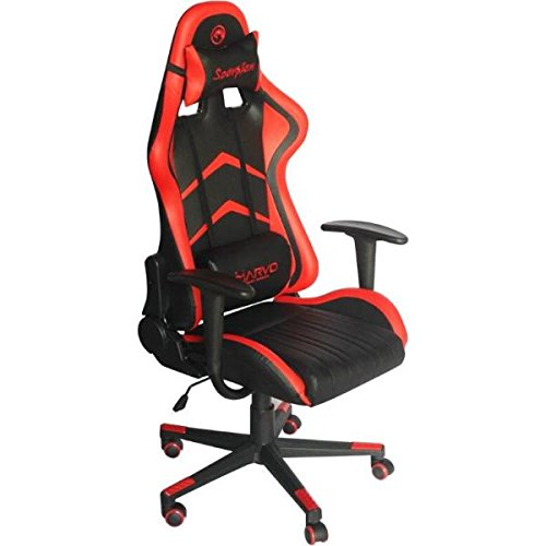 Marvo - CH106R Silla Racing Ergonomica de Color Rojo para Gaming con Forma de backet, Respaldo inclinable, Almohadas lumbares y Cervi