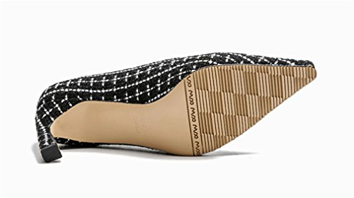 Escarpins LUCKY Black A Boucle De EU36 Talon Haut Talon Court Noir CLOVER Satin Bout Sandales Mariage Chaussures Evening Fermé Femmes IqSIC