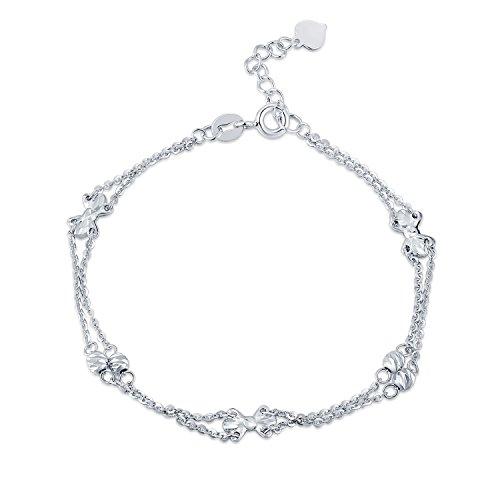 14ct 585Or blanc double chaîne Nœud en ruban et perles de diamant Bracelet (17.5cm) Femme Bijoux Cadeau Saint Valentin
