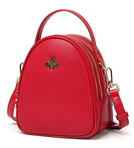 BISON DENIM Womens Small Crossbody Bag Genuine Leather Shoulder Bag Messenger Bag Handbag Purse Bee Design Red