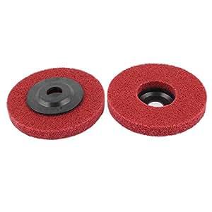 100 mm x 13 mm rojo nailon abrasivos pulido rueda pulidora de 2 piezas