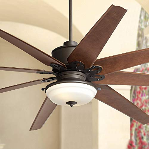 72' Predator Outdoor Ceiling Fan with Light LED Remote Control English Bronze Cherry Blades Frosted Glass Damp Rated for Patio Porch - Casa Vieja
