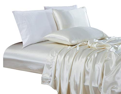 (Chezmoi Collection 4-Piece Bridal Satin Solid Color Sheet Set (Queen, Ivory))