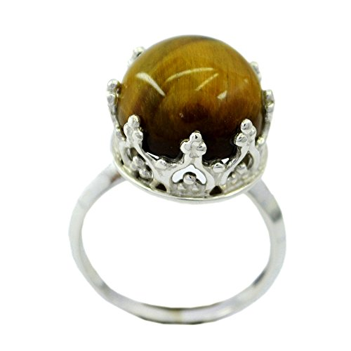 Genuine Tiger Eye Sterling Silver Ring For Women Round Shape Crown Style Size (Cushion Cut Tigers Eye Ring)