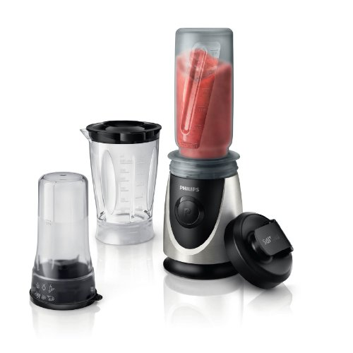 Philips HR2876/00 Mini Standmixer / Smoothiemaker (20500 U./Min, 4 Messer, 350 Watt, inkl. Trinkbecher) chrom