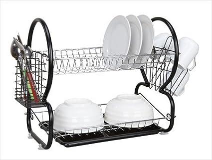 Amazon Com Home Basics 2 Tier Dish Drainer Plastic Black Dish Racks