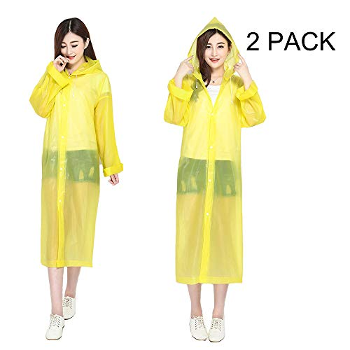 JayYor 2Pack Reusable EVA Portable Adult Rain Poncho Raincoat with Hoods and Sleeves,Perfect for Hiking,Disneyland,Camping or Other Outdoor Activities