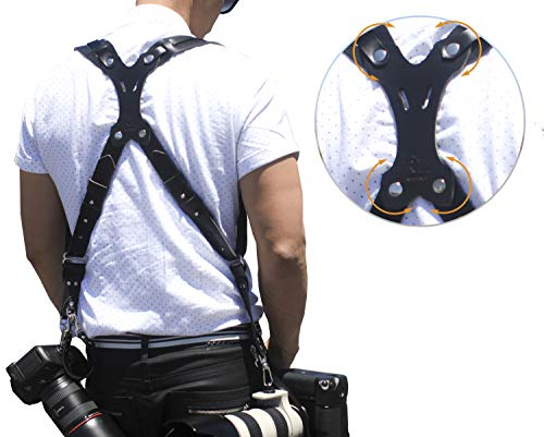 Clydesdale Pro - Dual HandMade Leather Camera Harness, Sling & Strap RL Handcrafts. DLSR, Mirrorless, Point & Shoot Made in the USA (X-Small, Black)