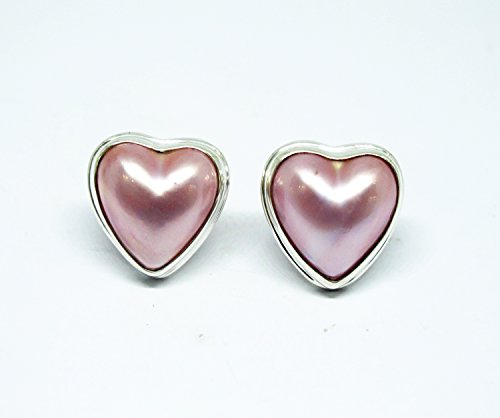 mabe pearl stud earrings with 925 sterling silver, heart shape mabe stud earrings, pink mabe pearl earrings, Pink Mabe Pearl Ring
