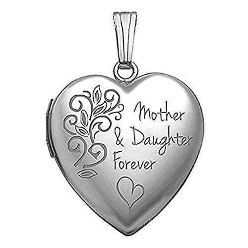 PicturesOnGold.com Sterling Silver Mother and Daughter Forever Locket - 3/4 Inch X 3/4 Inch
