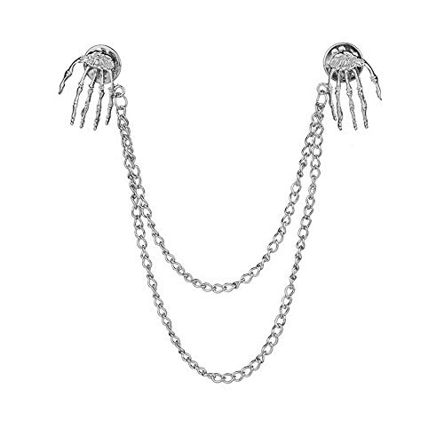 palettei Hand Bone Ghost Pin Collar Chain Suit Pin Buckle Retro Punk Style Skull Claw Brooch (Silver) (Claw Brooch)