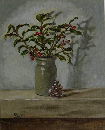 Red Berries Holly with Pinecone Seasonal Still Life 8