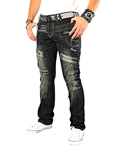 Kosmo Lupo K&M 261B Designer Herren Jeans Hose Clubwear Style Schwarz Verwaschen W29-W38 / L32-L34