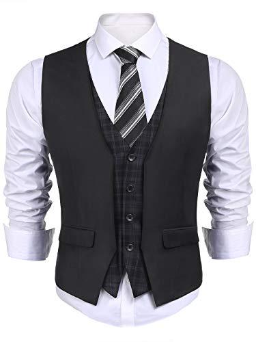 COOFANDY Men's Business Suit Vest layered Plaid Dress Waistcoat for Wedding, Date, Dinner (Medium, Black2M) ()