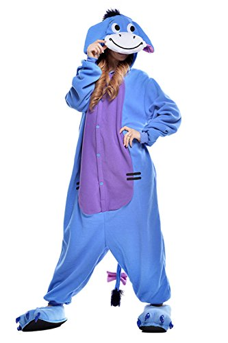 VU ROUL Halloween Costume Women's Eeyore Onesie Adult Pajamas Large Blue
