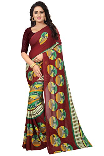 Shonaya Women's Party Wear Printed Latest Saree Sari (Maroon)