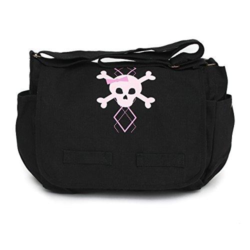 Black Canvas Messenger Satchel Diaper Bag with Pink Argyle Skull
