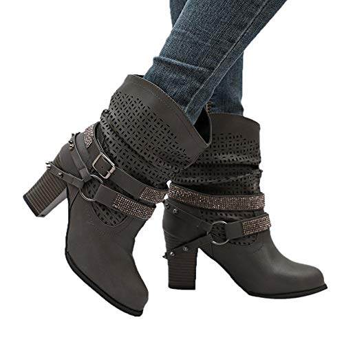 Farjing Women Autumn Winter Hollow Out Ankle Boots Ladies Heel Half Boots Shoes(US:9.5,Gray)