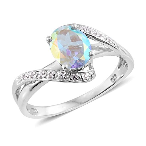Topaz Zircon Ring (Mercury Mystic Topaz, Zircon Platinum Plated Silver Ring 2.07 cttw. Size 6)