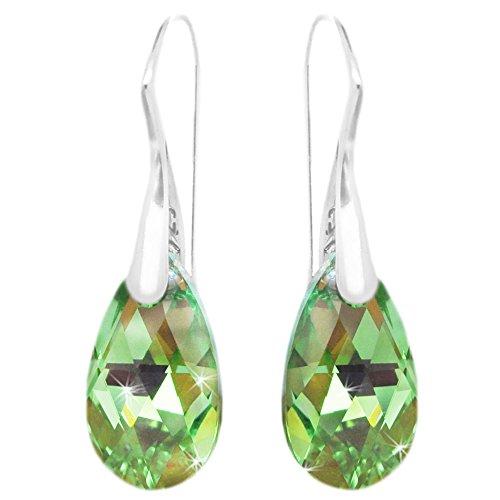 (Sterling Silver Light Green Teardrop Pierced Shepherd Hook Earrings Made with Swarovski Crystals)