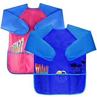 Bassion Pack of 2 Kids Art Smocks, Children Waterproof Artist Painting Aprons Long Sleeve with 3 Pockets for Age 2-6 Years (D-2 Pack (Blue & Rosered))