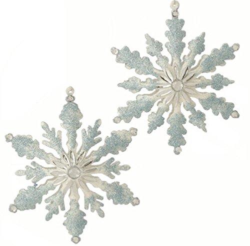 Set of 2 - 5.5'' GLITTERED SNOWFLAKE CHRISTMAS ORNAMENT by Raz Imports