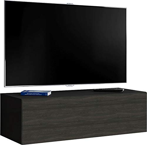 ExtremeFurniture T34-200cm TV Wall Cabinet Carcass in White Matt//Front in Black High Gloss