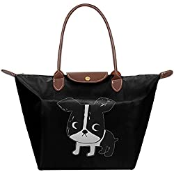 Boston Terrier Women Stylish Waterproof Tote Shoulder Bag Dumpling Handbag