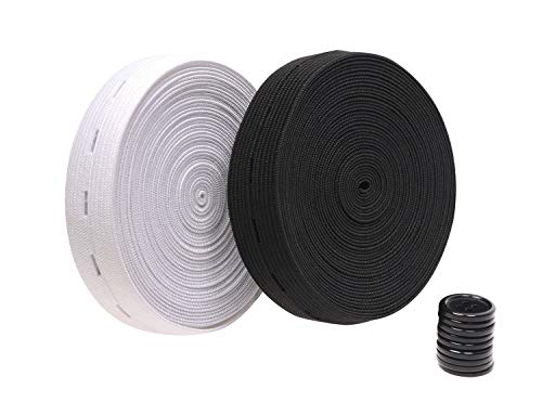 Penta Angel 2 Colors Elastic Sewing Bands 11 Yards 3/4 Inch Flatback Black and White Sewing Bands Spool with Buttonhole, Knit Stretch Cord Belt with 10Pcs 18mm Black Resin Button (3/4