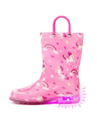 Outee Toddler Kids Printed Light Up Rain Boots Mud Boots