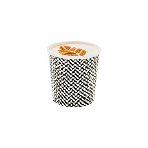 500-CT Disposable Houndstooth 4-oz Hot Beverage Cups with Spiral Wall Design: No Need for Sleeves - Perfect for Cafes - Eco Friendly Recyclable Paper - Insulated - Wholesale Takeout Coffee Cup