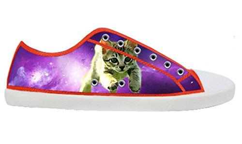 Womens Canvas Low Skor Med Plats Katt Tema Duk Kvinnor Shoes10