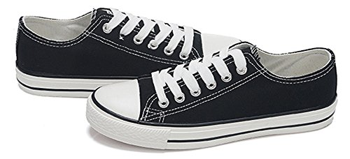 Aisun Dames Comfortabel Ademend Ronde Neus Lage Tops Met Veters Plateau Canvas Sneakers Flats Skateboard Schoenen Zwart