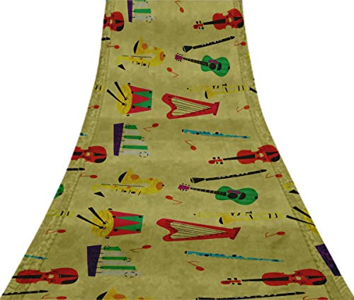 - Svasti Guitar & Xylophone Musical Instrument VintageSilk Sari Beige Dressmaking Refurbished Craft Fabric UsedSaree 1 Yard