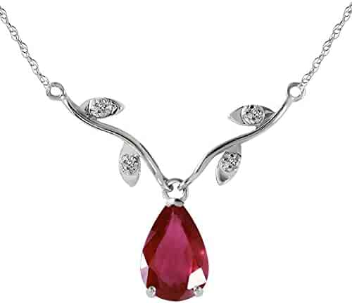 14k Solid White Gold 1.52 Carat Natural Ruby Diamond Pendant Necklace