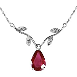 1.52 Carat 14k Solid White Gold Natural Ruby Diamond Pendant Necklace