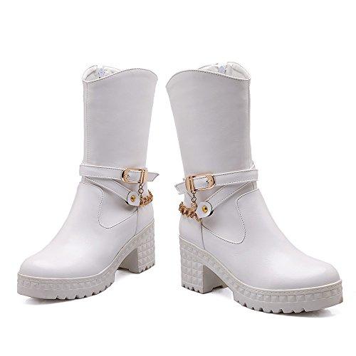 Carolbar Mujeres Fashion Chains Zip Comfort Hebilla Plataforma Tacón Alto Botas Cortas Blanco