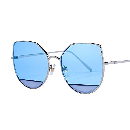 LXKMTYJ Sepia Cat's Eye lunettes de soleil visage rond grand fort personnalité lunettes noires, bleu marine