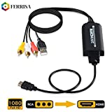 FERRISA RCA to HDMI Converter Cable-AV to HDMI Adapter Cable Cord, 3RCA CVBS Composite Audio Video to 1080P HDMI Supporting PAL NTSC for PC Laptop Xbox PS3 PS4 TV STB VHS VCR Camera DVD Etc