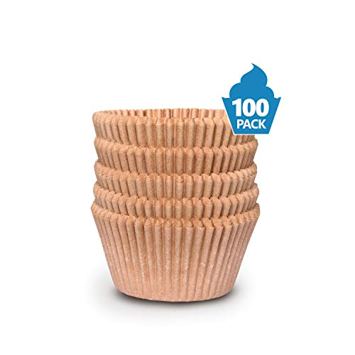 Cupcake Baking Cup Liner - Jumbo Size, Extra Thick, Unbleached Brown Disposable Cup Parchment Liner for Baking- Food Grade & No Smell - Muffin Paper Baking Cups by NextClimb (Pack of 100)