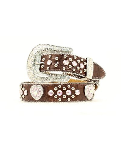 Nocona Girl's Heart Conchos Rhinestones Belt, Brown, 28