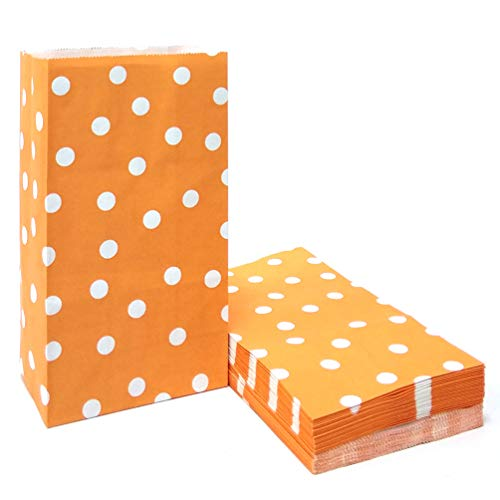 50 PCS Orange Paper Party Favor Bags Printed