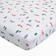 Carter's Fox Toss Cotton Sateen Crib Sheet - White, Orange - 52  x 28