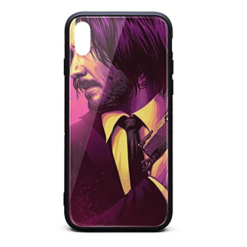 iPhone Xs MAX Upcoming-American-neo-noir-action-thriller-film-John-Wick-Chapter-3- Shockproof Tempered Glass Back Cover Soft TPU Bumper Shell for iPhone Xs MAX