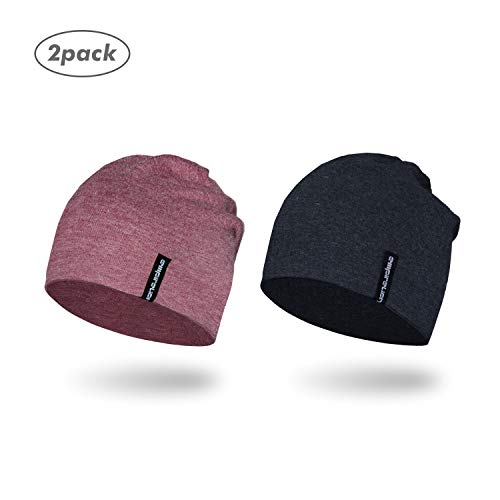Empirelion Slouch Beanies Knit Hat Thin Running Lightweight Skull Cap for Men Women (Charcoal Melange+Ruby Wine Melange)