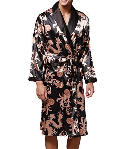 De Prints Verano Camisones Pijamas Negro Primavera Chándal Bata Hombre Estilo Seda Especial Bobolily Baño Chino 5IpFqOwx