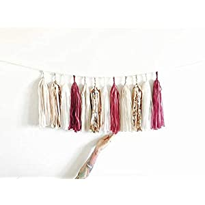1set Tissue Beige Rose Gold Pink Garland Paper Tassels Contains 15 Tassels (3 Bags) Wedding Bridal Shower Birthday Party Decor (Burgundy, Rose Gold, Cream and Champagne Shimmer) 107