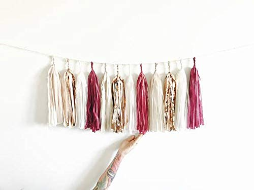 1set Tissue Beige Rose Gold Pink Garland Paper Tassels Contains 15 Tassels (3 Bags) Wedding Bridal Shower Birthday Party Decor (Burgundy, Rose Gold, Cream and Champagne Shimmer)